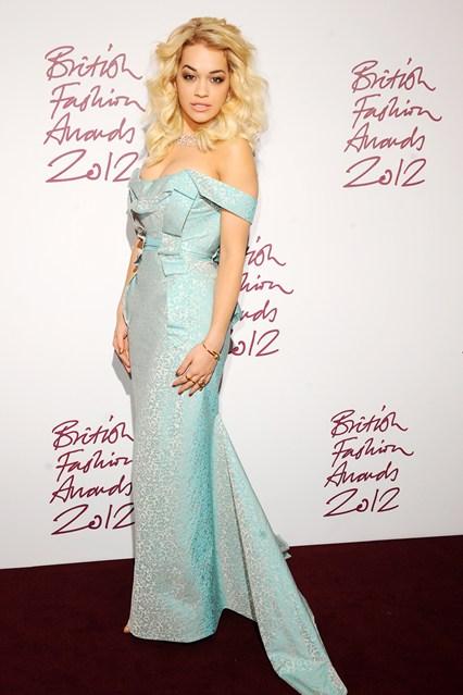 Vivienne Westwood aqua blue strapless gowns-Rita-Ora